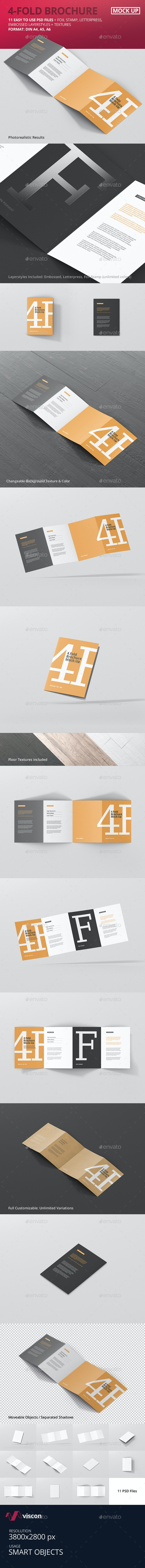 4-Fold Brochure Mockup - Din A4 A5 A6 - Brochures Print
