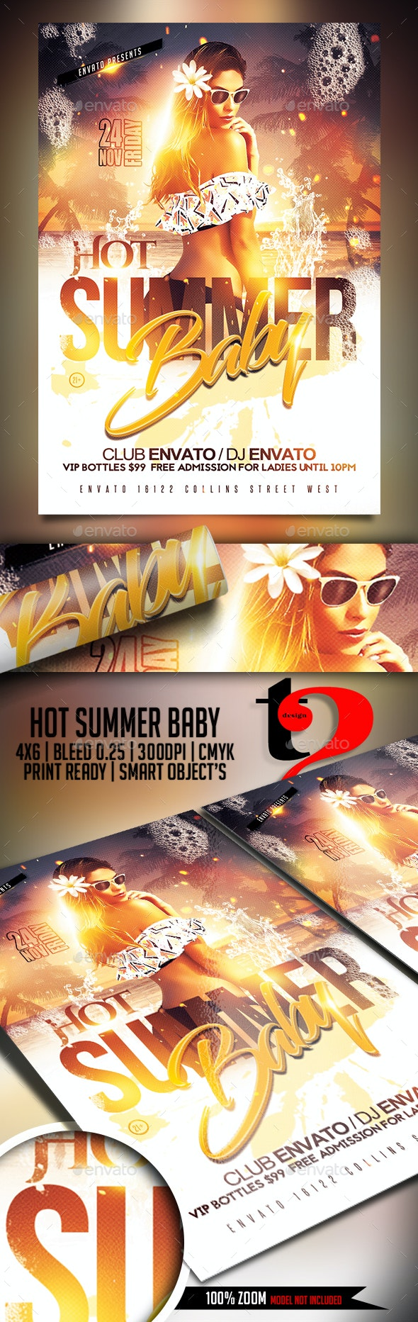 Hot Summer Baby Flyer Template - Clubs & Parties Events