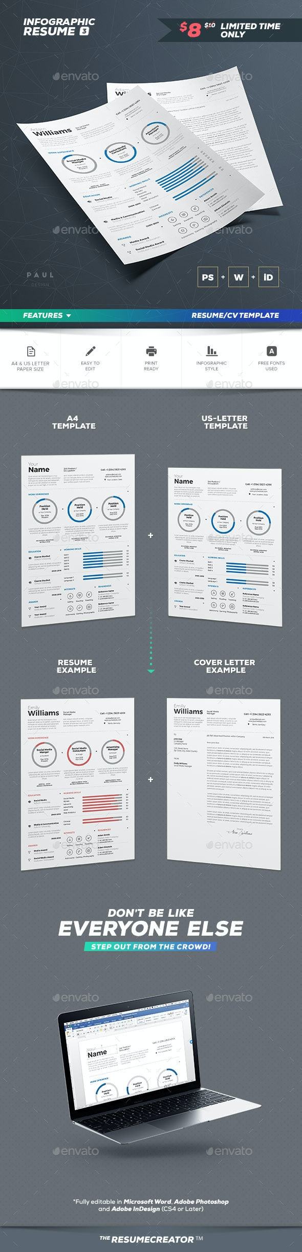 Infographic Resume Vol 3 - Resumes Stationery