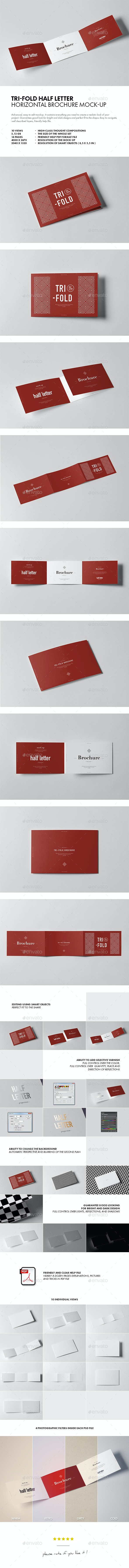 Tri-Fold Half Letter Horizontal Brochure Mock-up - Brochures Print