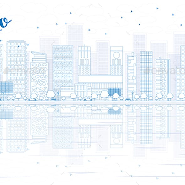 Outline Oslo Skyline with Blue Buildings and reflections.