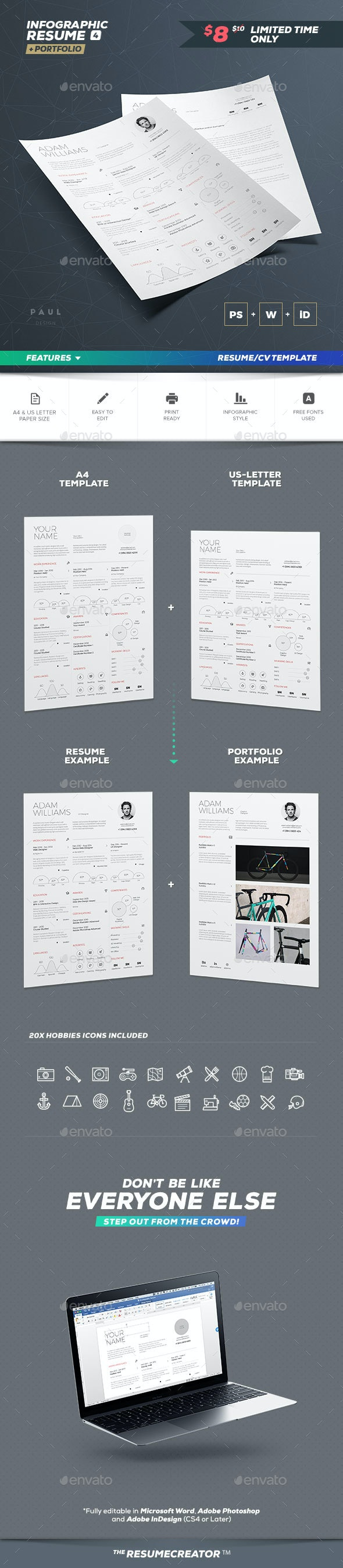 Infographic Resume Vol. 4 - Resumes Stationery