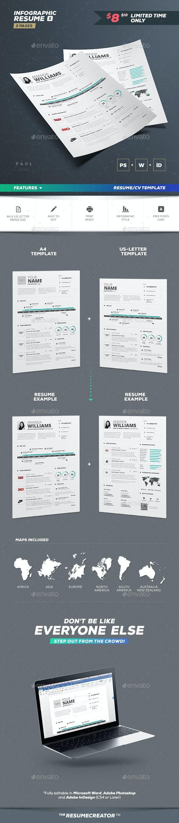 Infographic Resume/Cv Volume 5 - Resumes Stationery