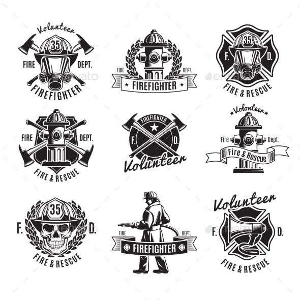 Monochrome Firefighting Labels Set
