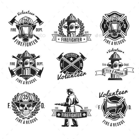 Monochrome Firefighting Labels Set - Miscellaneous Vectors