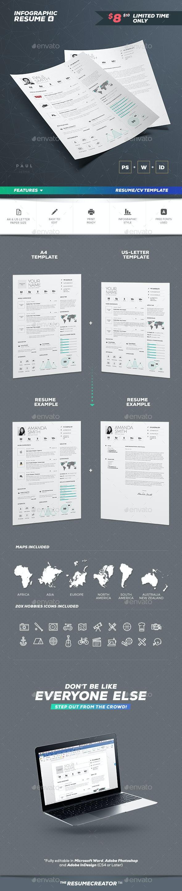 Infographic Resume/Cv Volume 6 - Resumes Stationery