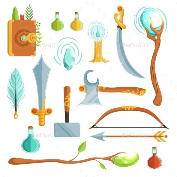 Vector Set of Fantasy Magic Weapons. Illustrations