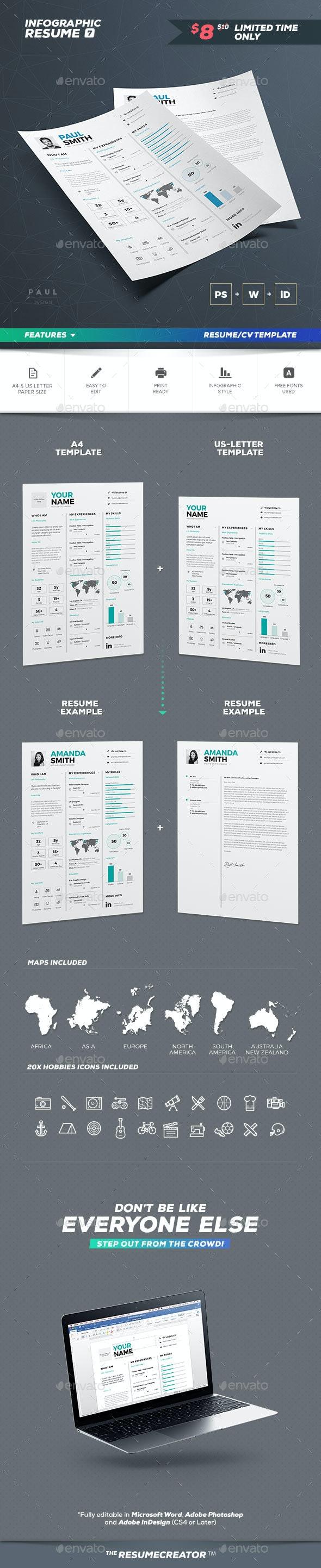 Infographic Resume/Cv Volume 7 - Resumes Stationery