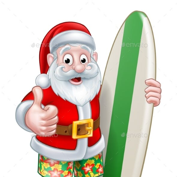 Santa in Shorts Holding Surfboard