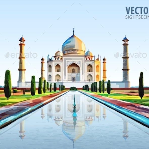 The Taj Mahal. White Marble Mausoleum on the South