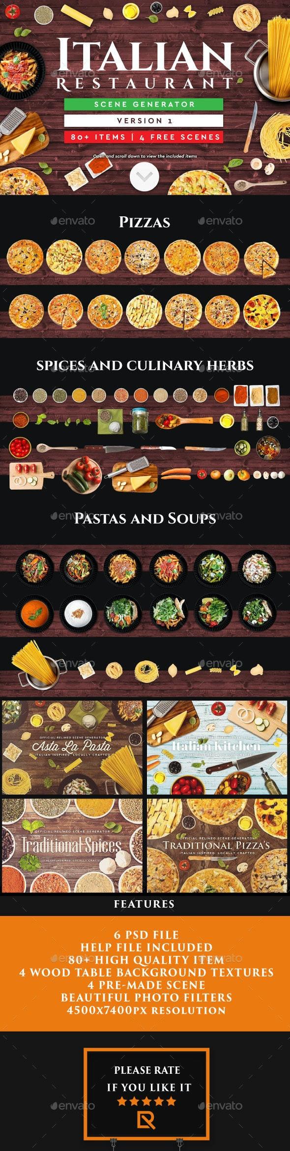 Italian Restaurant Scene Generator - Hero Images Graphics