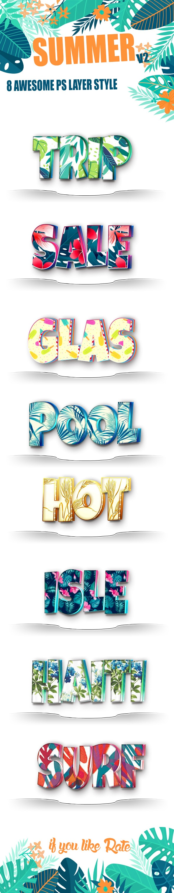 Summer Text Layer Style v2 - Text Effects Styles
