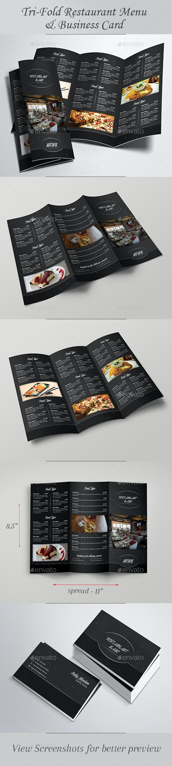 Tri-Fold Restaurant Menu & Business Card - Food Menus Print Templates