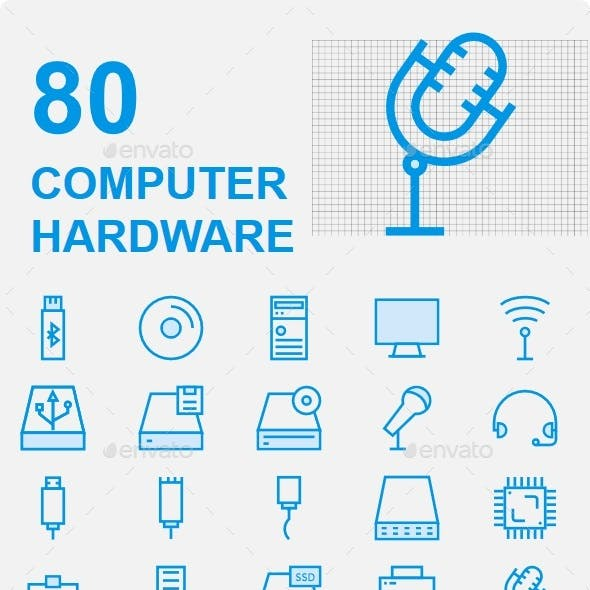 Computer Hardware Cute Icons