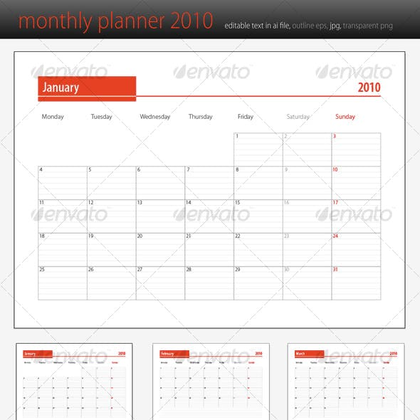 monthly planner 2010