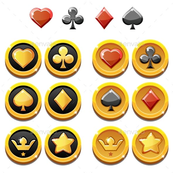 Vector Set Illustration of Gold Icons and Coins