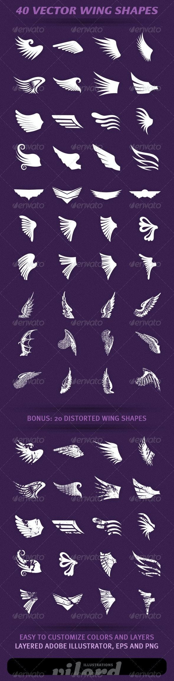40 Wing Shapes - Decorative Symbols Decorative