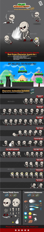 Skeleton Game 2D Character Sprite - Sprites Game Assets