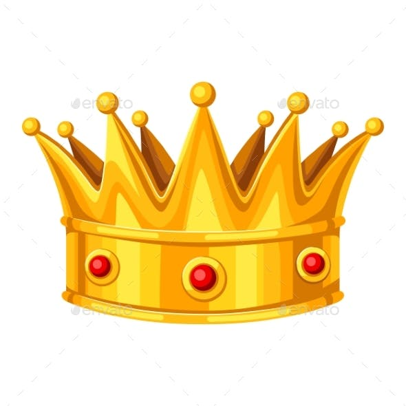 Gold Crown with Red Rubies