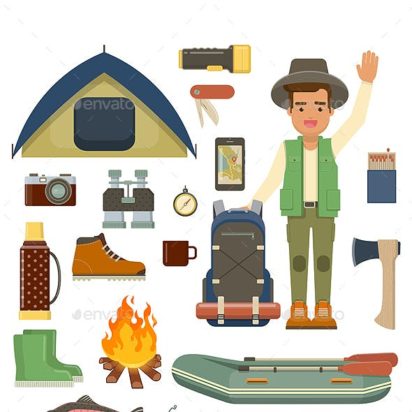 Traveler Man with Backpack and Set of Camping Equipment