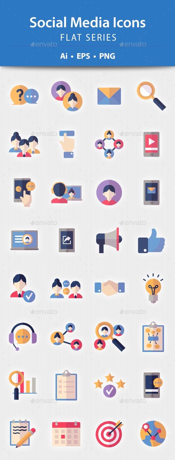Social Media Icons - Flat Series - Web Icons