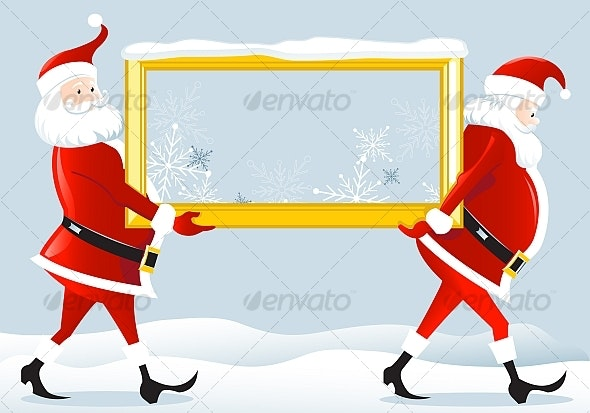 Santa Claus with a frame - Christmas Seasons/Holidays