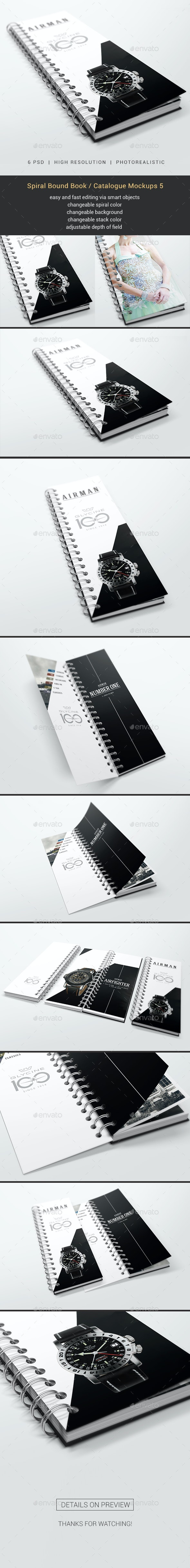 Spiral Bound Book / Catalogue Mockups 5 - Books Print