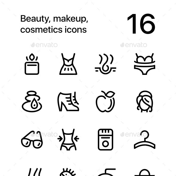 Beauty, Cosmetics, Makeup Icons for Web and Mobile Design Pack 2