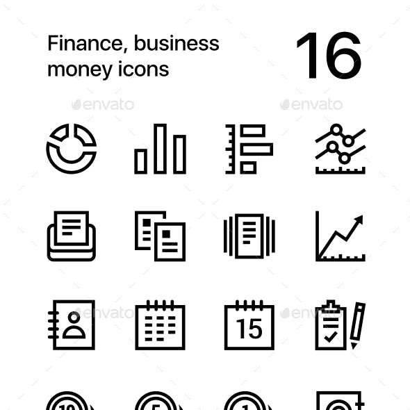 Finance, Business. Money Icons for Web and Mobile Design Pack 2