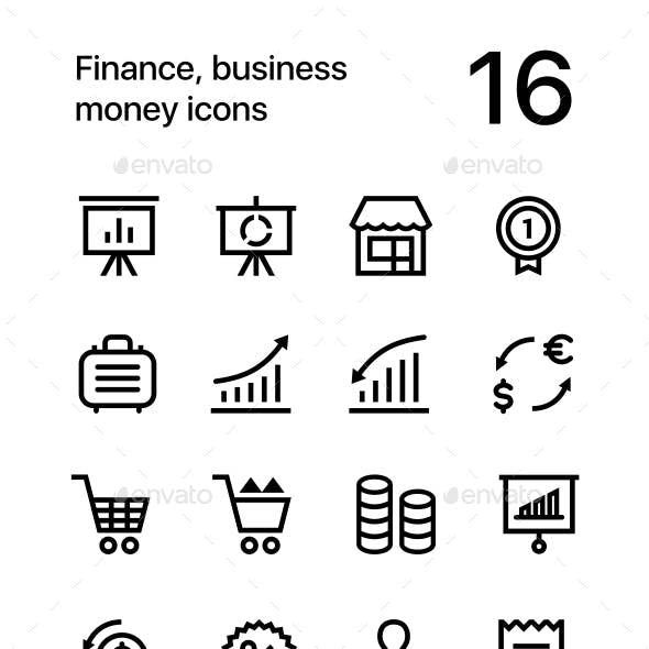 Finance, Business. Money Icons for Web and Mobile Design Pack 4