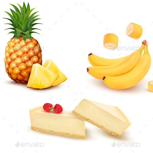 Set Of Different Fruit And Desert. Vector