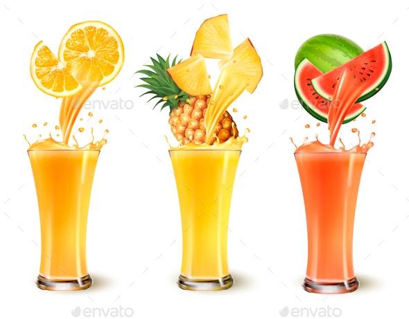 Set Of Fuit Juice Splash In A Glass. - Food Objects