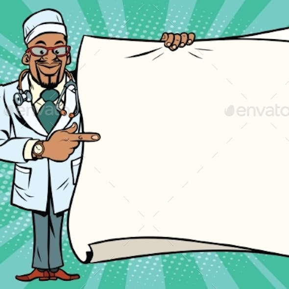 African Doctor Shows on Copy Space Background
