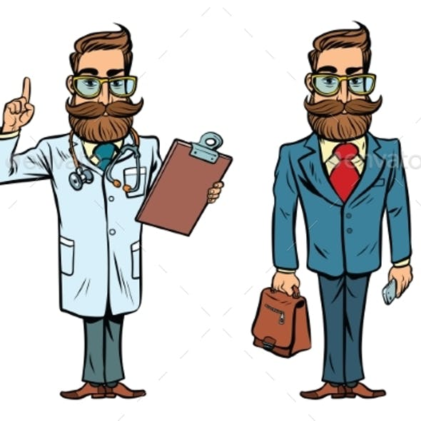 Hipster Doctor and Businessman