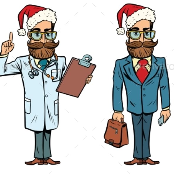 Hipster Christmas Doctor and Businessman