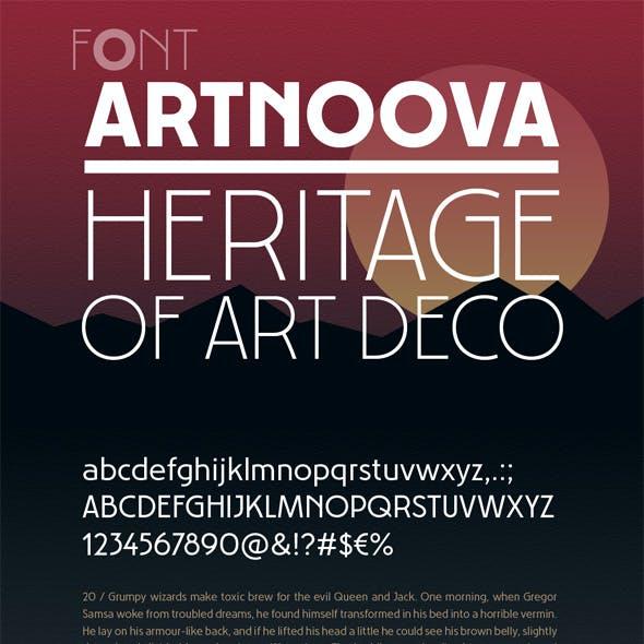 Artnoova font. Heritage of Art Deco style 6 fonts