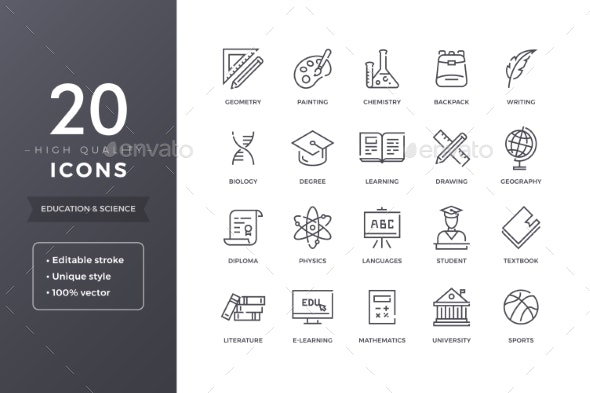 Education and Science Line Icons - Miscellaneous Icons