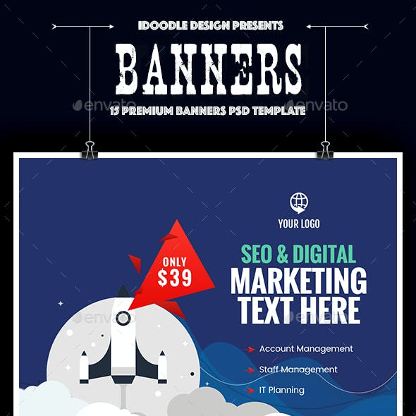 Seo, Social Media, Digital Marketing Banners Ad