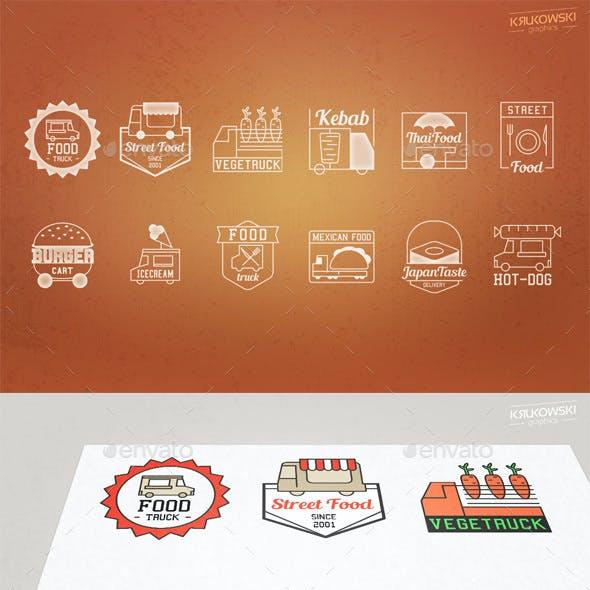 Food Truck Logo Vector Badges Set