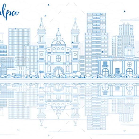 Outline Tegucigalpa Skyline with Blue Buildings and Reflections.