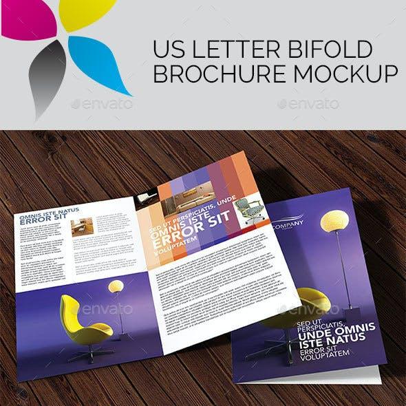 US Letter Bi-Fold Brochure Mockup
