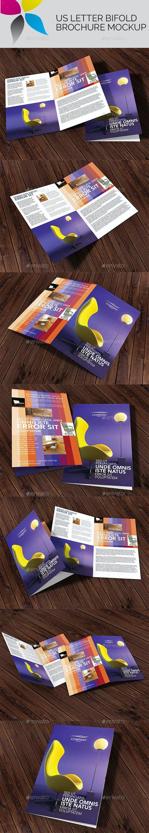 US Letter Bi-Fold Brochure Mockup - Brochures Print