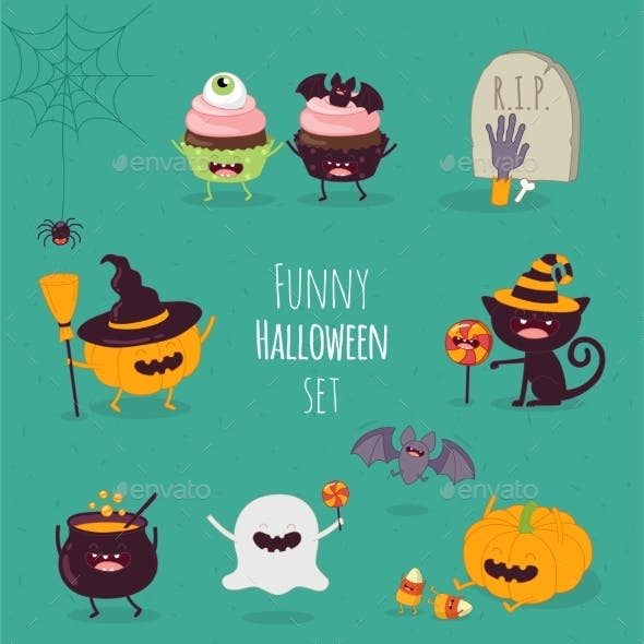 Halloween Characters Icon Set.