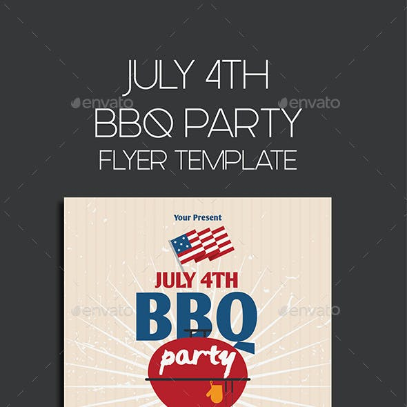 JULY 4TH BBQ PARTY Flyer Template