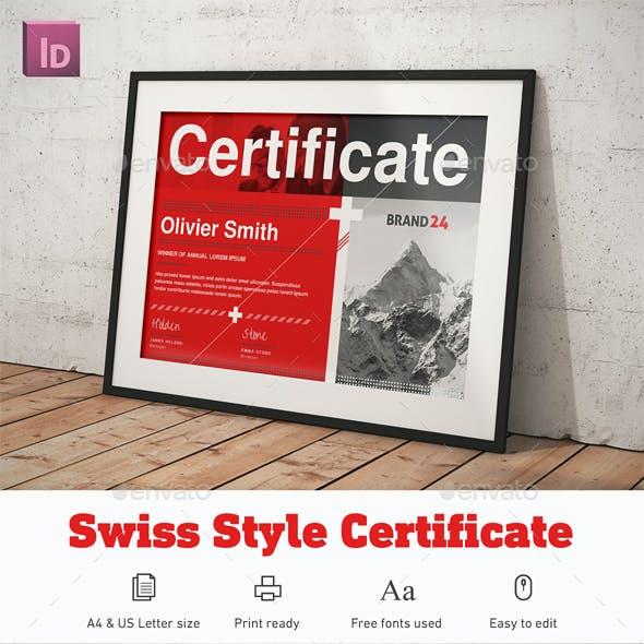 Swiss Style Certificate