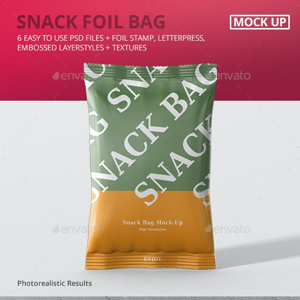 Snack Foil Bag Mockup