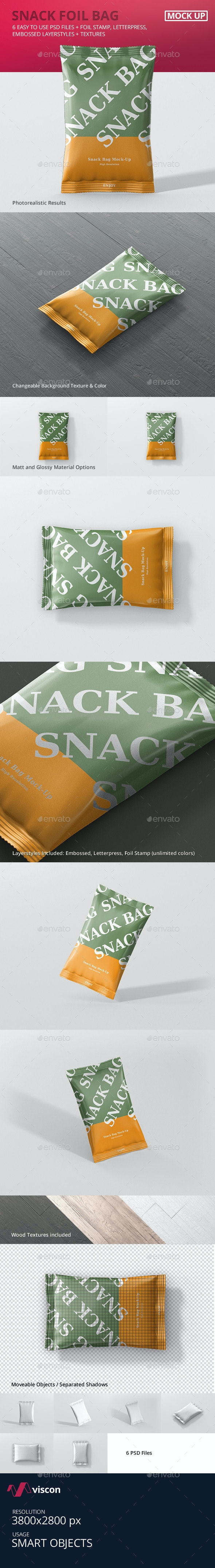 Snack Foil Bag Mockup - Food and Drink Packaging