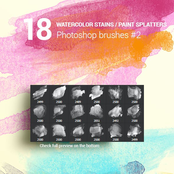 18 Watercolor Stains Paint Splatters Photoshop Brushes #2