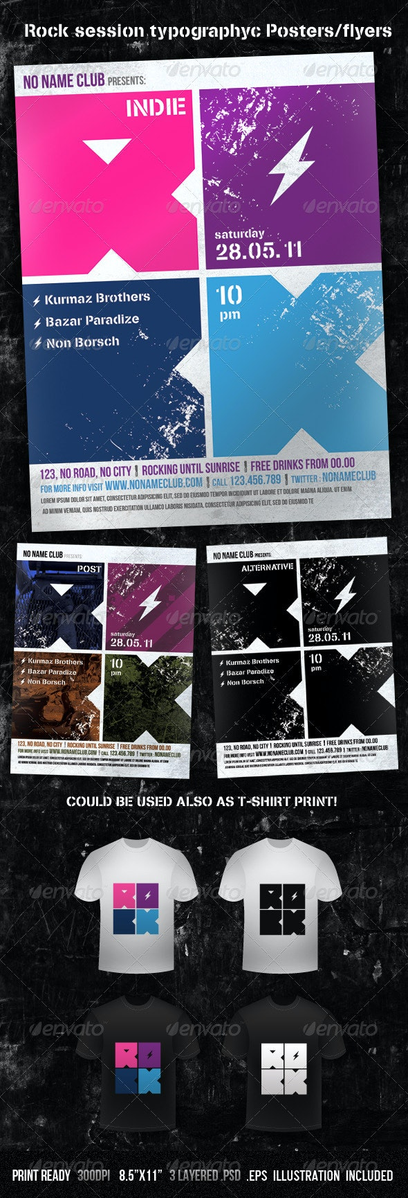 Rock Session Typographic Poster/Flyer - Concerts Events