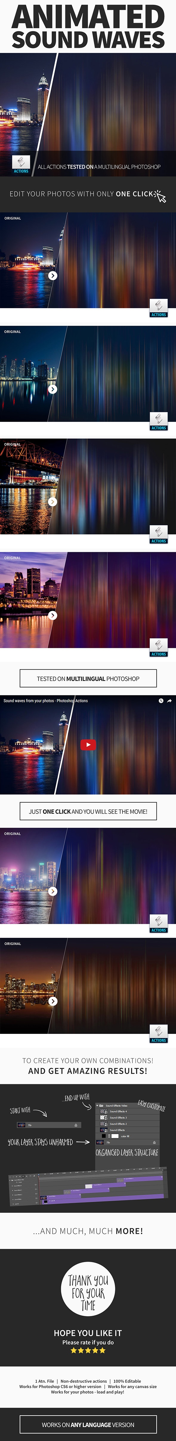 Animated Sound Waves Photoshop Action - Photo Effects Actions